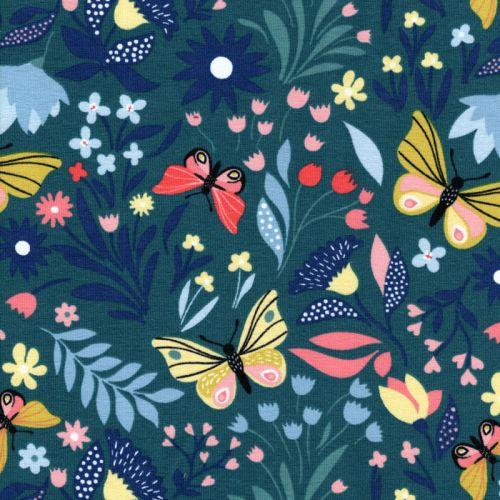 Tissu French Terry papillon printanier