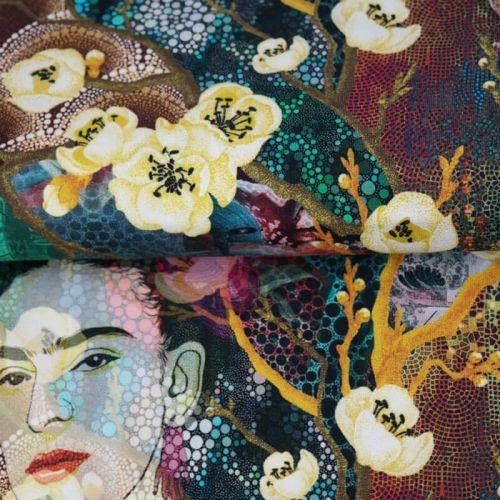 Tissu jersey Frida violet/vert impression digitale