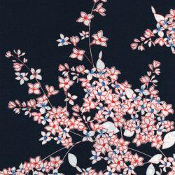Tissu crêpe polyester fleurs fond marine