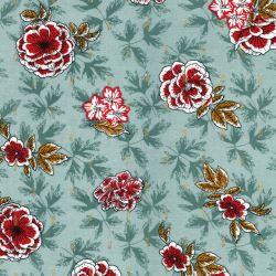Tissu viscose fleurs rétro glitter or fond vert
