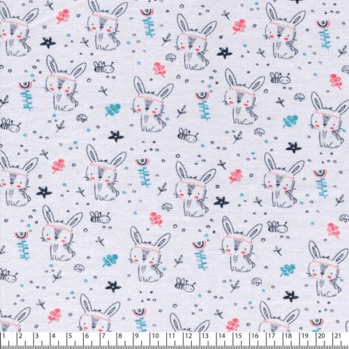 Tissu jersey bunny fond gris