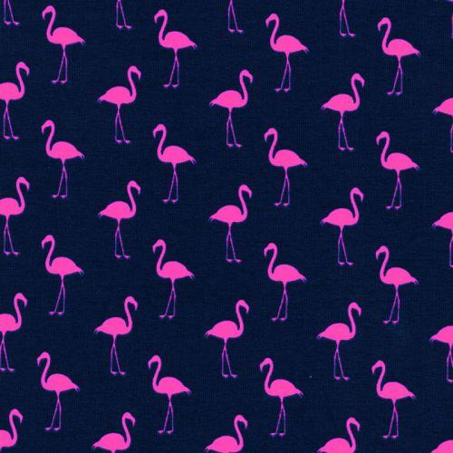 Tissu jersey flamants rose fluo fond bleu marine
