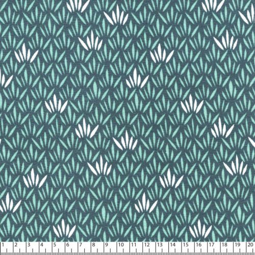 Tissu jersey agave fond bleu gris