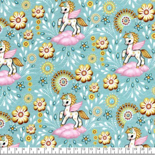 Tissu jersey licornes fond bleu turquoise