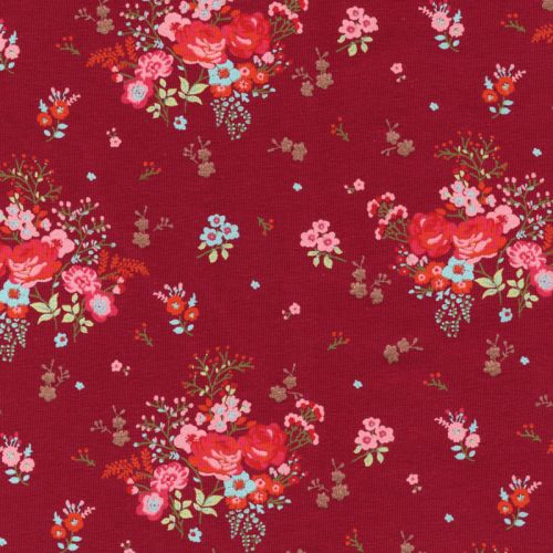 Tissu jersey jardin anglais fond framboise 95%cot/5%el larg