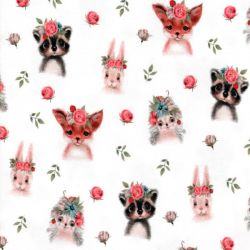 Tissu jersey Woodland animal digital fond blanc Poppy