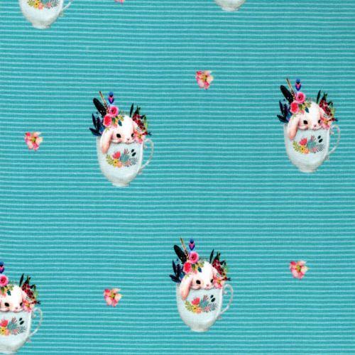 Tissu jersey sweet bunny fond à rayures