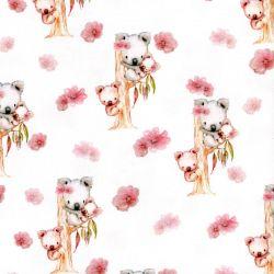 Tissu jersey Koalas digital fond blanc Poppy
