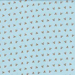 Tissu motif moutarde fd bleu