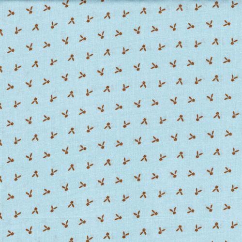 Tissu viscose motif moutarde fd bleu