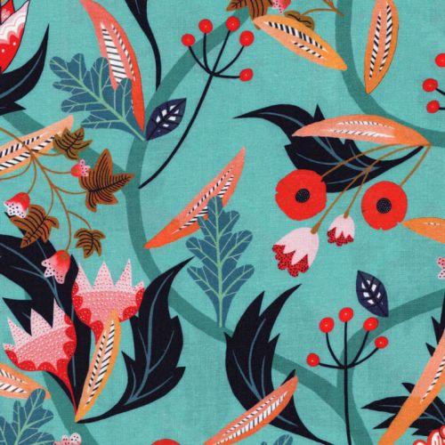 Tissu viscose fleurs et feuilles fond turquoise