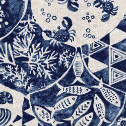 Tissu toile coton mélangé azulejos bleu