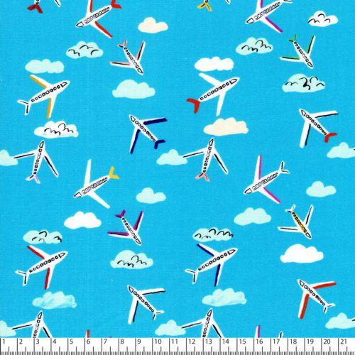 Tissu coton By Plane fond bleu Dashwood