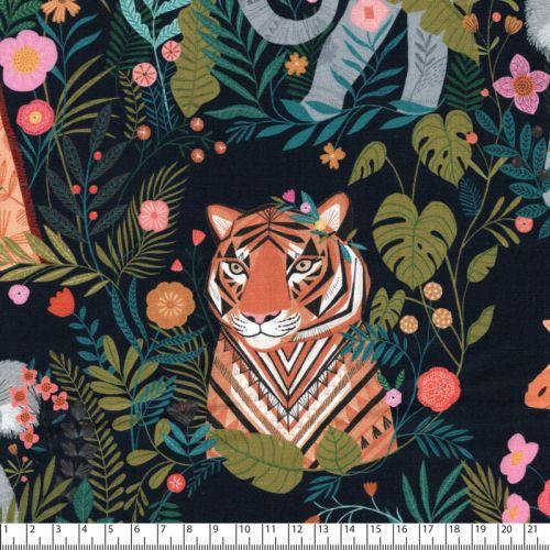 Tissu coton girafes, tigres pandas Dashwood