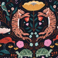 Tissu coton tigres mandala fond marine Dashwood