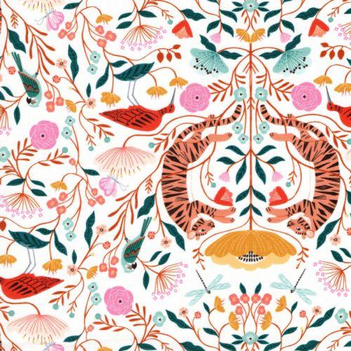 Tissu coton tigres mandala fond blanc Dashwood