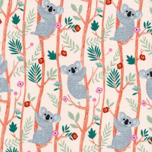 Tissu coton koalas fond rose pâle Dashwood