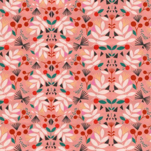 Tissu coton fleurs et fruits fond rose Dashwood