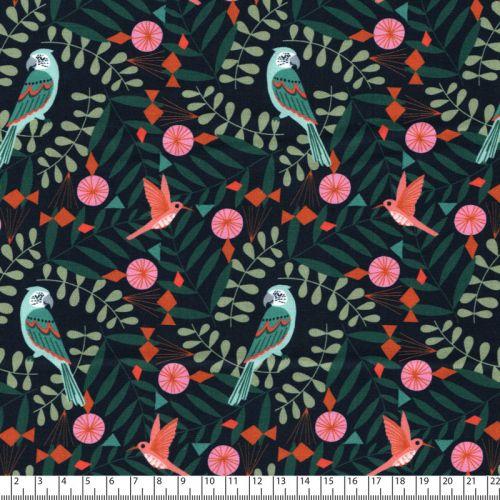 Tissu perroquets et oiseaux fond marine Dashwood