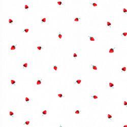 Tissu coton petites fraises fond blanc