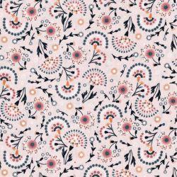 Tissu coton mélange de fleurs fond rose