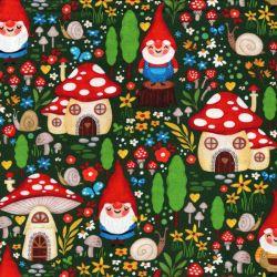 Tissu coton gnomes fond vert Michael Miller