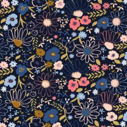 Tissu coton Colorful Flowers fond bleu Poppy