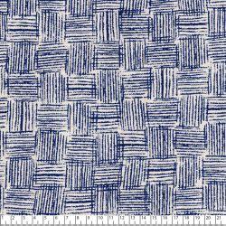 Tissu toile coton mélangé carreaux rayures bleu