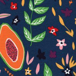 Tissu toile de coton grenades et fleurs fond bleu