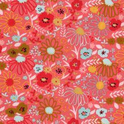 Tissu coton Colorfull Flowers fond rose Poppy