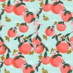 Tissu coton Tasty fruits fond vert Poppy