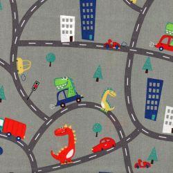 Tissu coton dinos sur la route fond vert