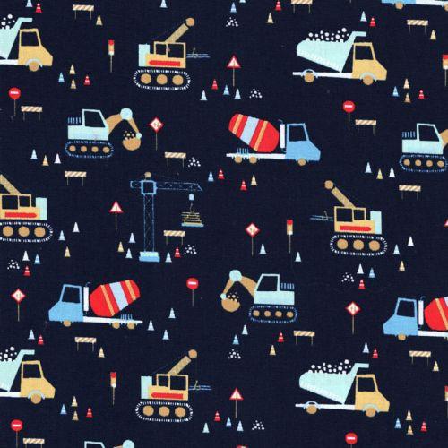 Tissu coton construction vehicles fond bleu marine Poppy