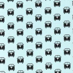 Tissu coton imprimé vans fond bleu clair
