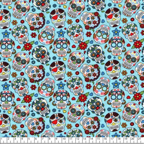 Tissu coton popeline calaveras fond turquoise