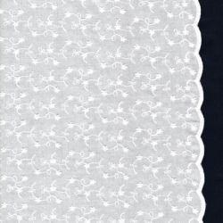 Tissu coton avec bordures et fleurs blanches brodées