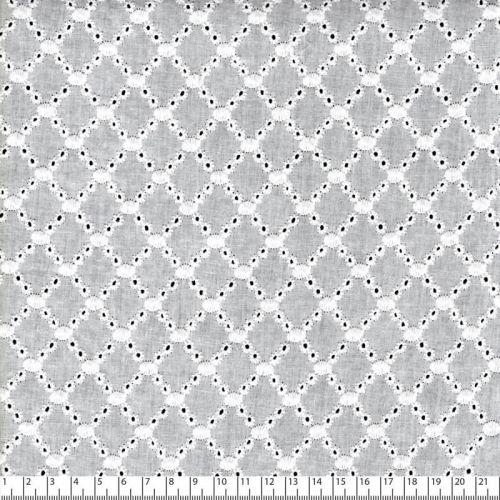 Tissu broderie anglaise bouquet fleurs blanc 100% cot larg 1