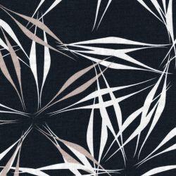 Tissu viscose et lin feuilles graphiques bleu
