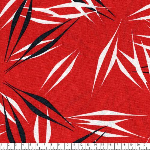 Tissu viscose et lin  feuilles graphiques rouge