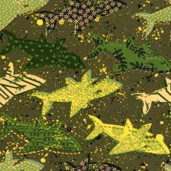 Tissu lycra maillot de bain requins vert/jaune
