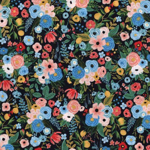 Tissu jardin fd noir 100% viscose larg 110 cm
