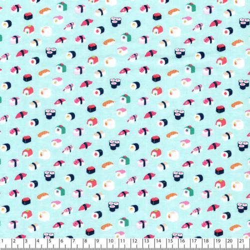 Tissu coton mini sushis fond céladon