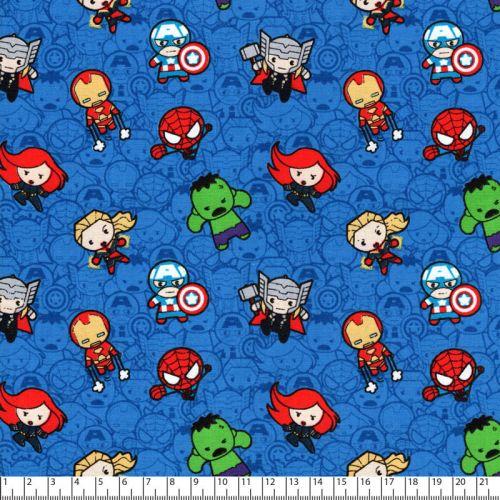 Tissu coton Marvel Kawaii fond bleu
