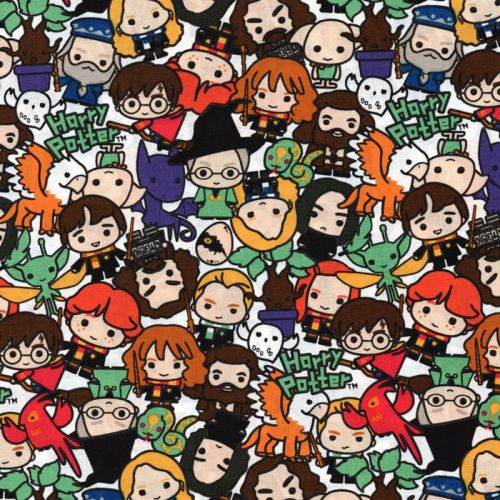 Tissu coton Harry Potter and friends