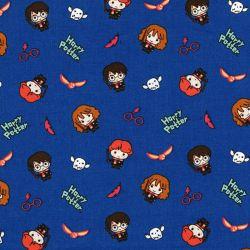 Tissu coton Harry Potter fond bleu