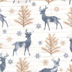 Tissu coton cerfs dans le bois