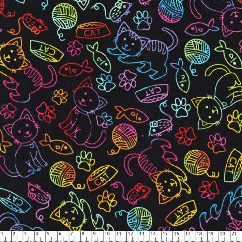 Tissu coton chats traits arc en ciel