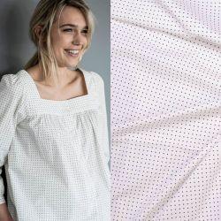 Tissu satin de coton étoiles noires fond blanc Fibremood Danna