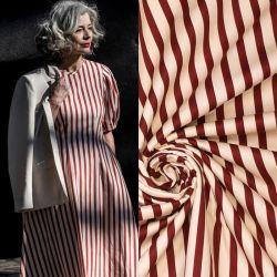 Tissu satin de coton rayures blanc/rouge Fibremood Maya
