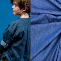 Tissu coton chambray bleu Fibremood Rupert